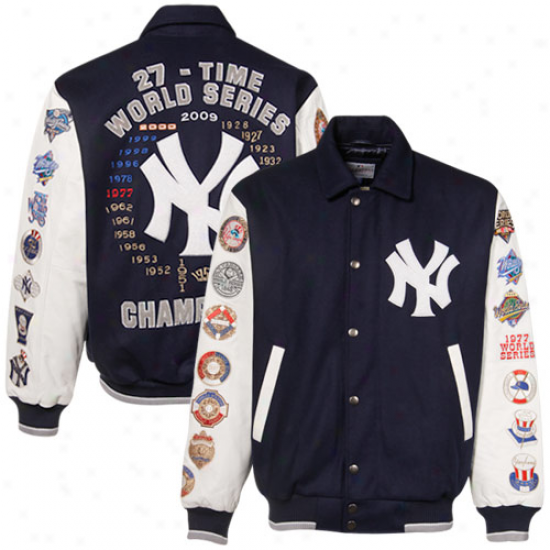 New York Yankees Jackets : Unaccustomed York Yankees Navy Blue-white Wool And Leather World Series Commemorative Jackets