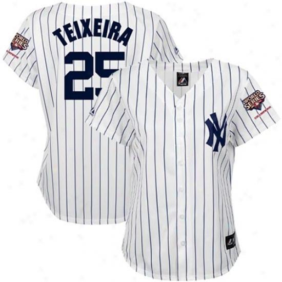New York Yankees Jersey : Majestic New York Yankeess 2009 World Succession Champions #25 Mark Teixeira Ladies White Pinstripe Home Baseball Jersey