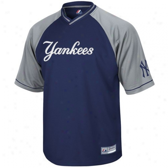 New York Yankees Jersey : Majestic New York Yankees Navy Blue-gray Abounding Force V-neck Jersey