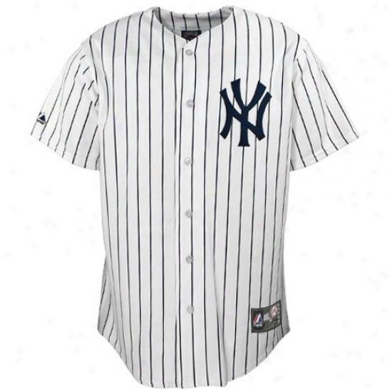 New York Yankees Jersey : Majestic New York Yankees Boy White Pinstripe Replica Baseball Jersey
