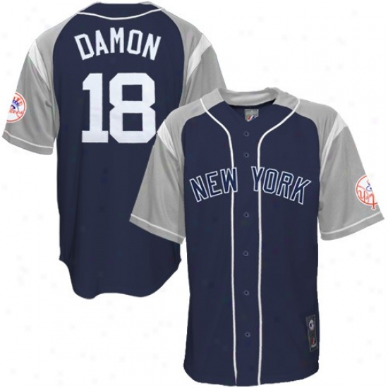 New York Yankees Jersey : Majestic New York Yankees #18 Johnny Damon Navy Blue And Gray Stance Baseball Jersey