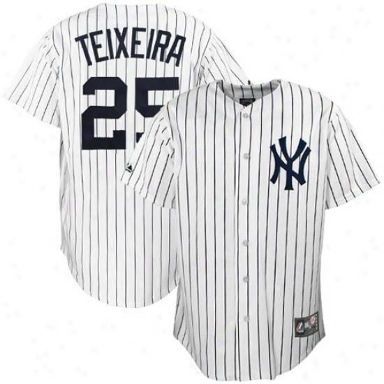 New Yoek Yankees Jerseys : Majestic New York Yankees #25 Mark Teixeira White Pinstripe Replica Baseball Jerseys