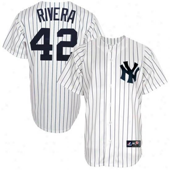 New York Yankees Jerseys : Majestic New York Yankees #42 Mariano Rivera White Pinstripe Replica Baseball Jerseys
