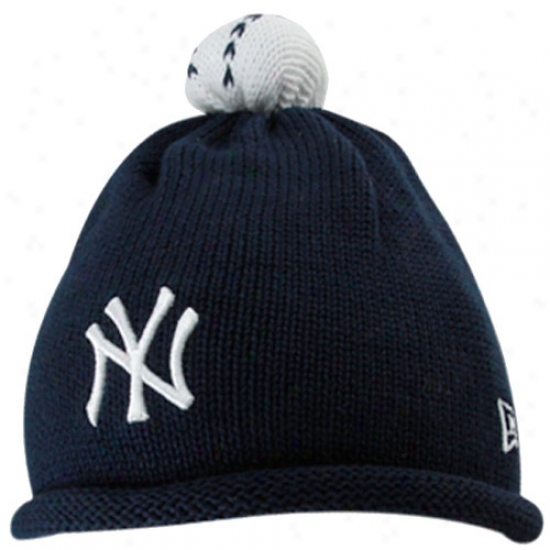 New York Yankees Merchandise: New Era New York Yankees Infant Navy Blue T-ball Knit Beanie