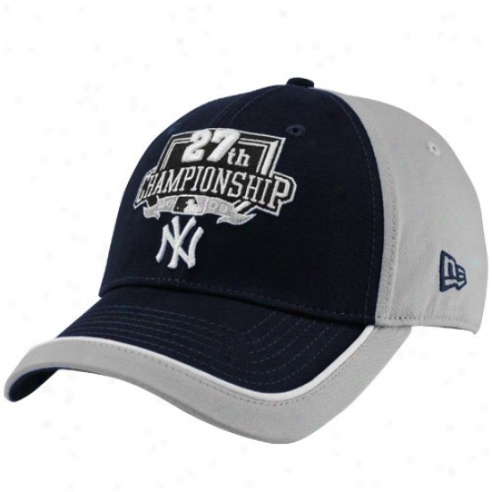 New York Yankees Merchandise: New Era New York Yankees Navy Blue-gray 27th Championship Opus Stretch Fit Hat