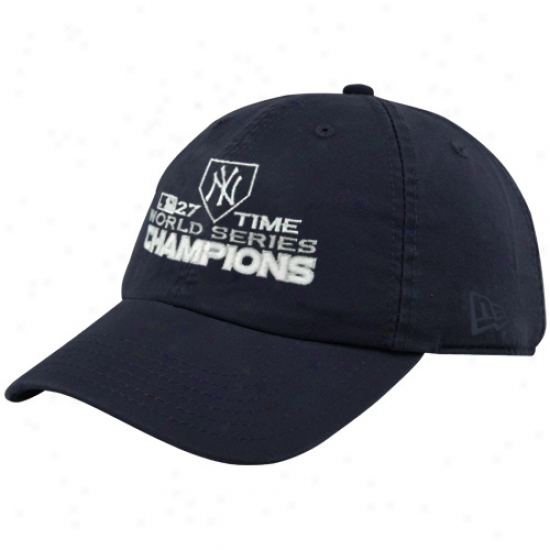 New York Yankees Merchandise: New Era New York Yankees Ladies Ships of war Blue 2009 World Series Champions 27-time Champions Adjustable Slouch Hat