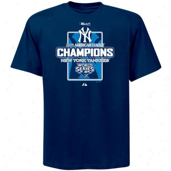 New York Yankees Shirt : Majestic New York Yankees Navy Blue 2009 Alcs Champions Official Locker Room Shirt