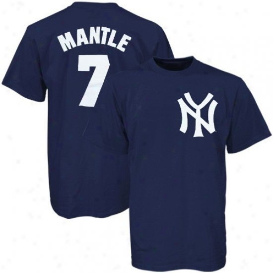 New York Yankees Shirt : Majestic New York Yankees #7 Mickey Mantle Youth Ships Blue Cooperstown Player Shirt