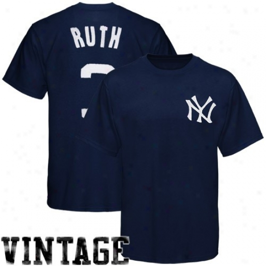 New York Yankees Shirt : Majestic New York Yankees #3 Infant Ruth Navy Blue Cooperstown Vintage Pro Shirt