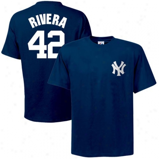 New York Yankees Shirt : Majestic Repaired York Yankees #42 Mariano Rivera Navy Blue Player Shirt