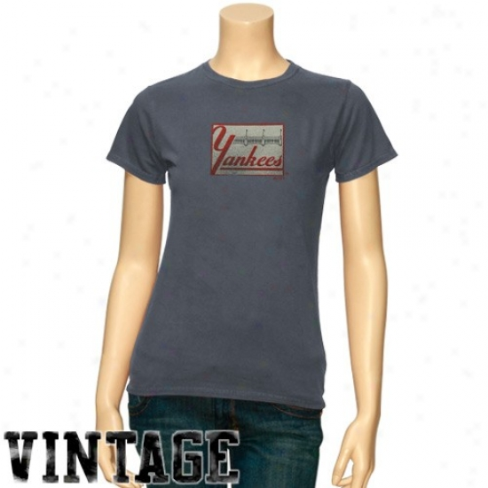 New York Yankees Shirt : Majestic Repaired York Yankees Ladies Heatherr Blue Cooperstown Big Time Play Shirt