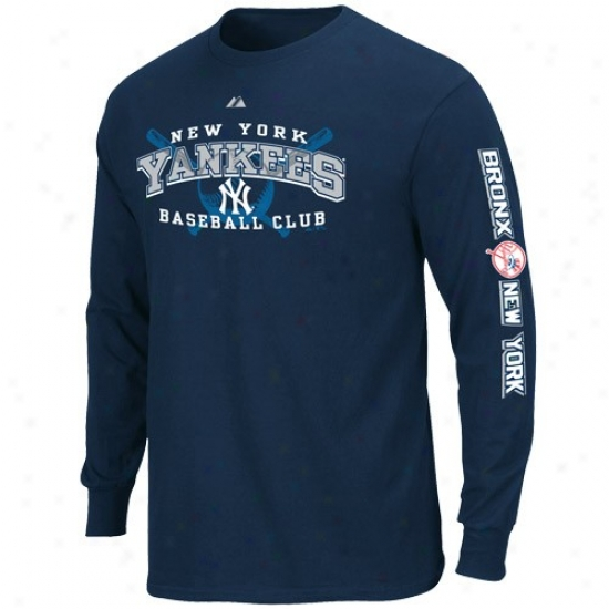 N3w York Yankees Shirts : Majestic New York Yankees Youth Navy Blue Monster Play Long Sleeve Shirts
