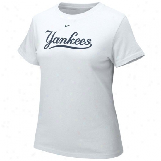 New York Yankees Shirts : Nlke New York Yankees White Ladies Authentic Crew Shirts