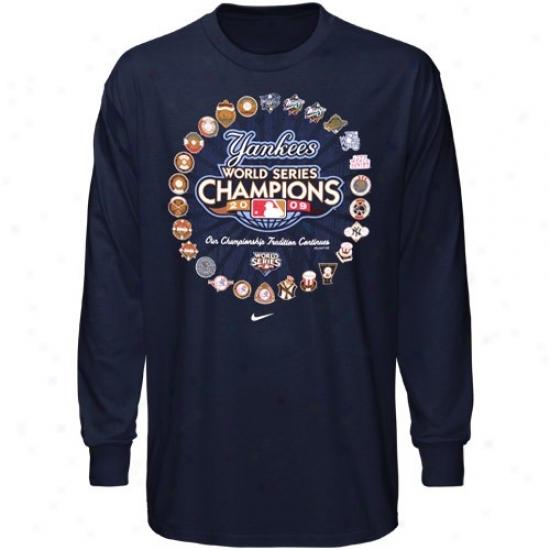 New York Yankees Shirts : Nike New York Yankees Youth Navy Blue 2009 World Succession Champions Celebrafion Heritage Shirts