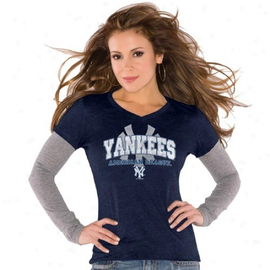 New York Yankees Shirts : Touch By Alyssa Milano New York Yankees Ladies Navy Blue Double V Triblend Premium Shirts