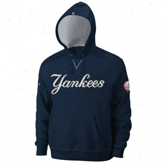 Unaccustomed York Yankees Stuff: Majestic New York Yankees Navy Blue Conquest Hoody Sweatshirt