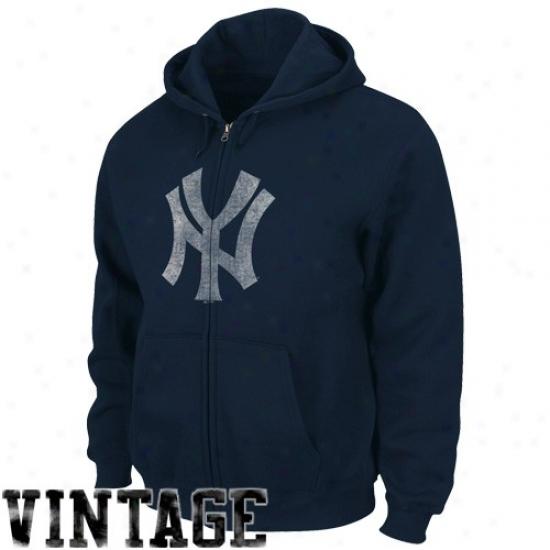 New York Yankees Styff: Majestic New York Yankees Navy B1ue Built Tough Cooperstown Full Zip Hoody