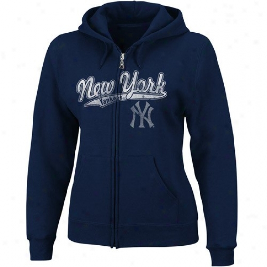 Just discovered York Yankees Stuff: Majestic New York Yankees Ladies Navy Blue Backlot Drama Fukl Zip Hoody Sweatshirt