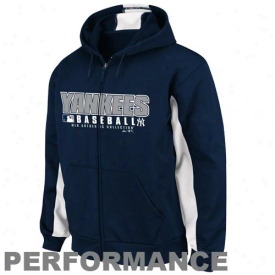 New York Yankees Stuff: Majestic New York Yankeess Navy Blue-white Authentic Performance Hoody Track Jzcket