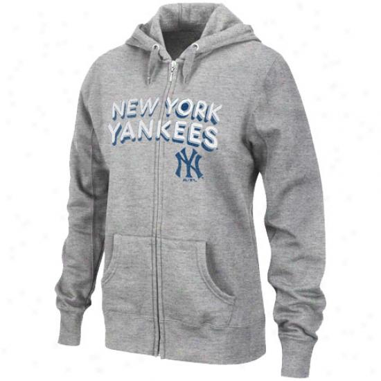 New York Yankees Sweat Shirt : Majestic Just discovered York Yankees Ladies Ash Instant Replay Full Zip Sweat Shirt