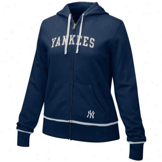 New York Yankees Sweat Shirt : Nike New York Yankers Ladies Navy Blue Classic Full Zip Sweat Shirt Sweat Shirt