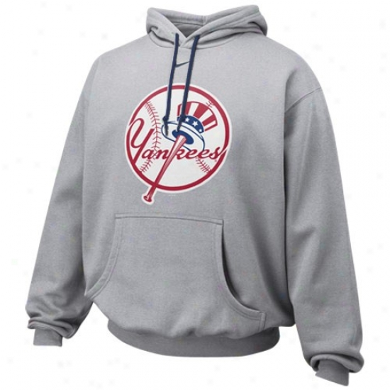 New York Yankees Sweat Shirts : Nike New York Yankees Ash Pre-game Sweat Shirts
