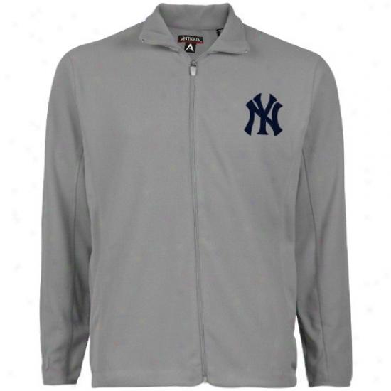 New York Yankees Sweatshirt : Antigua N3w York Yankees Silver Sleet Full Zip Sweatshirt Jacket