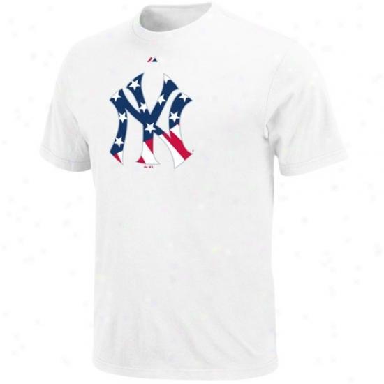 Novel York Yankees T-shirt : Majestic New York Yankees White Stars & Stripes Logo T-shirt
