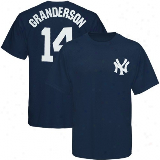 New York Yankees T Shirt : Majetic Unaccustomed York Yankees #14 Curtis Granderson Youth Navy Blue Player T Shirt