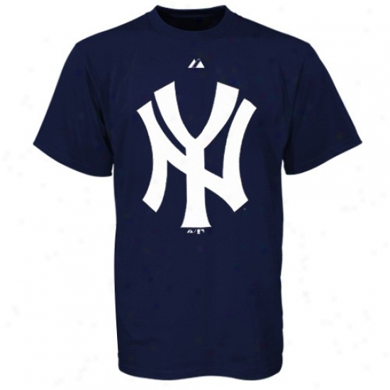 New York Yankees T-shirt : Majestic Recent York Yankees Navy Blue Cooperstown Official Logo T-shirt