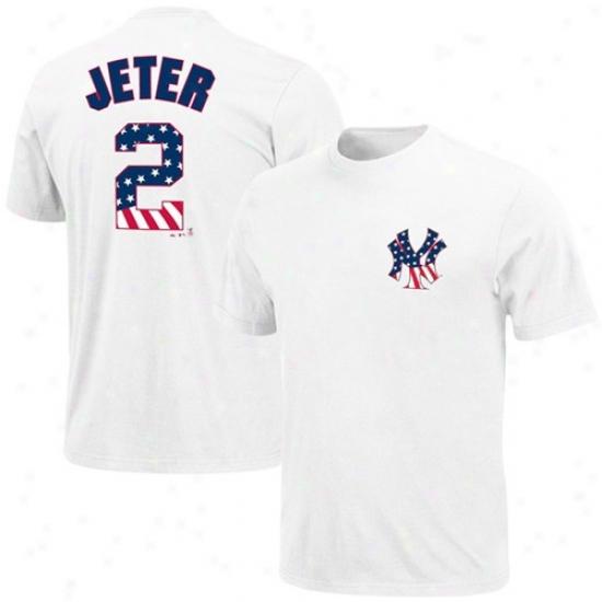 New York Yankees T Shirt : Majestic New York Yankees #2 Derek Jeter White Stars & Stripes Logo T Shirt
