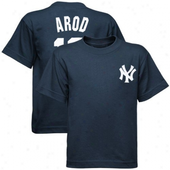 New York Yankees T Shirt : Majestic New York Yankees #13 Alex Rodriguez Preschool Navy Blue Player T Shirt
