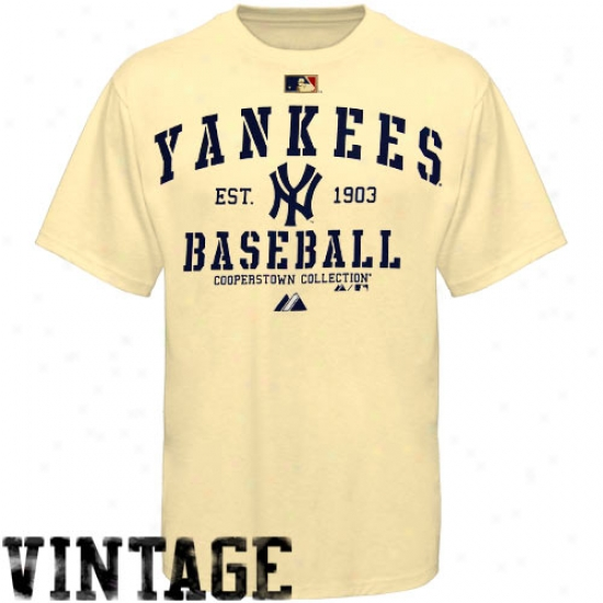 New York Yankees T Shirt : Majestic New York Yankees Natural Classic Cokperstown T Shirt