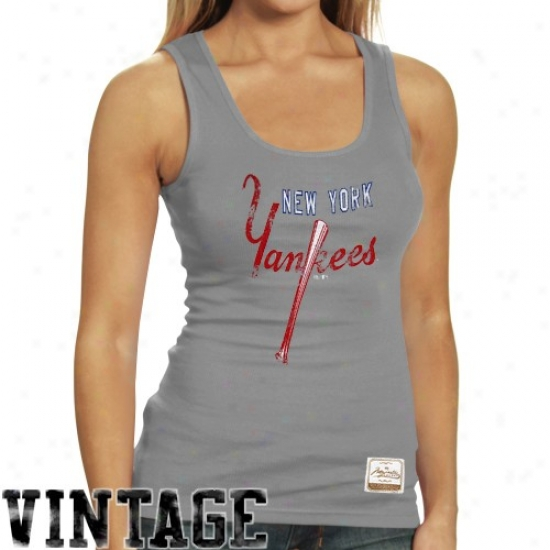 New York Yankees T-shirt : Majestic Select New York Yankees Ladies Ash Racer Vintage Premium Tank Top