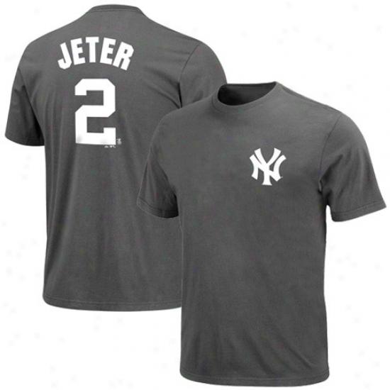 New York Yankees Tee : Majestic New York Yankees #2 Derek Jeter Charcoal Player Tee