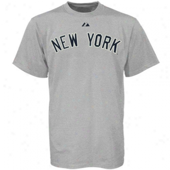 New York Yankees Tee:  Majestic New York Yankees Youth Ash Official Road Wordmark Tee