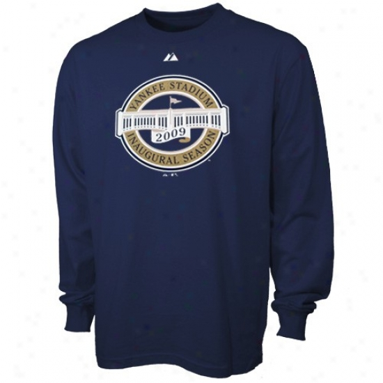 New York Yankees Tee : Majestic New York Yankees Navy Blue 2009 Ijaugural Season Long Sleevr Tee