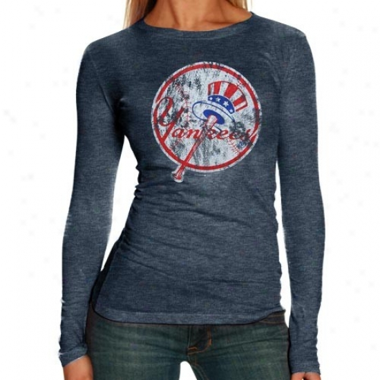 New York Yankees Tees : New York Yankees Ladies Navy Blue Distressed Logo Triblend Long Sleeve Tees