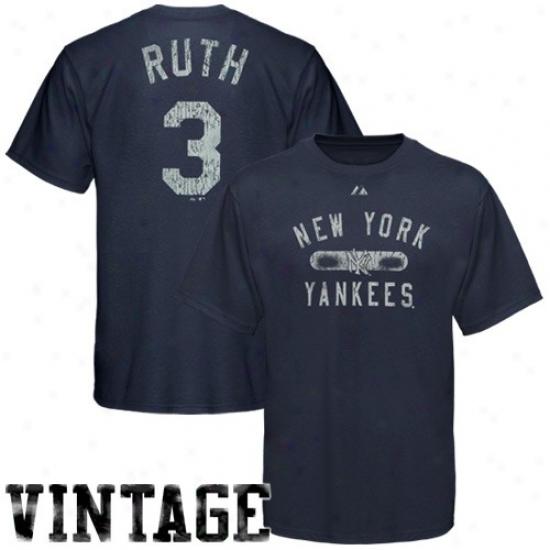 New York Yankees Tshirt : Majestic New York Yankees #3 Babe Mercy Navy Blue Game Master Player Premium Tshirt