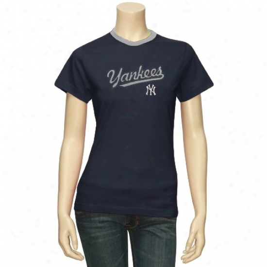 New York Yankees Tshirt : Majestic New York Yankees Ladies Navy Blue Girlfriend Tshirt