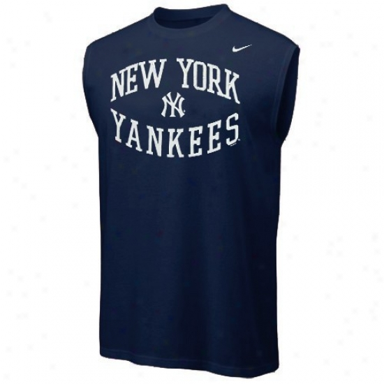 New York Yankees Tshirt : Nike New York Yankees Navy Blue Sleeveless Tshirt