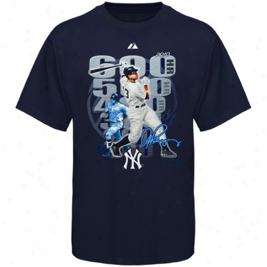 New York Yankees Tshirts : Majestic New York Yankees Yoouth Ships of war Blue A-rod Hits 600 Tshirts
