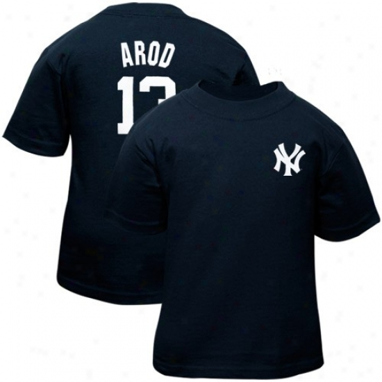 New York Yankees Tshirts : Majestic New York Yankees #13 Alex Rodriguez Toddler Navy Blue Player Tshirts