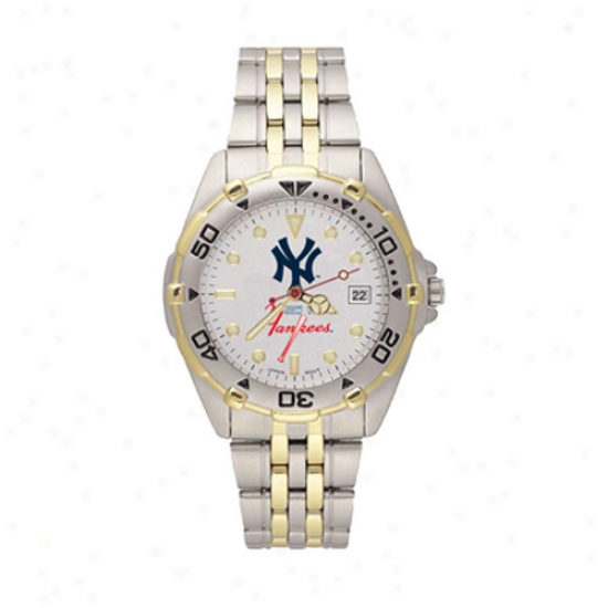New York Yankees Wake : New York Yankees Men's All-star Watch W/stainless Steel Band