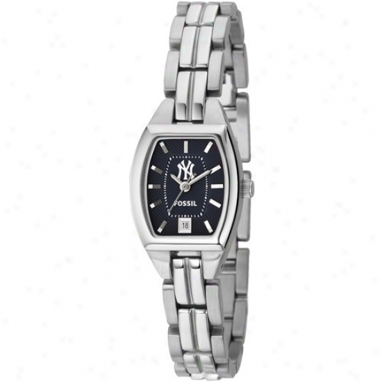 New York Yankees Watches : Fossil New York Yankees Ladies Stainless Steel Analog Cushion Watches