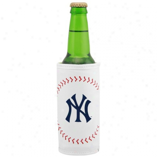 New York Yankees White Baseball Bottle Coolie