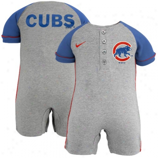 Nike Chicago Cubs Infant Ash-royal Blue Mlb Romper