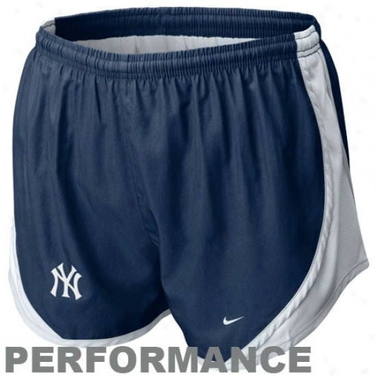 Nike New York Yankees Ladies Navy Blue Mlb Tempo Performance Shorts
