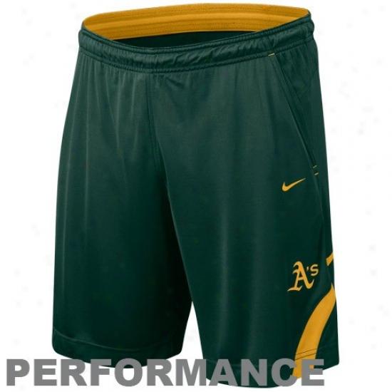 Nike Oakland Athletics Green Mlb Dri-fit Performance Training Shorts