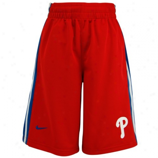 Nike Philadelphia Phillies Youth Red  Mlb Classic Mesh Shorts